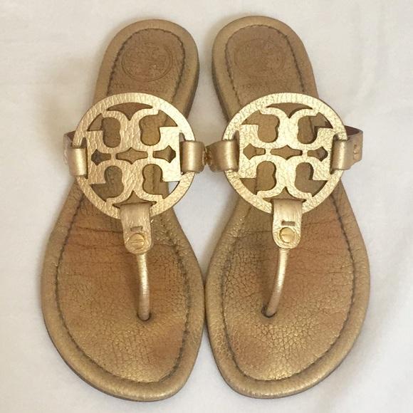 1a139984d64 Tory Burch Gold Metallic Miller Sandals. M 5acceb301dffdab146e983b0